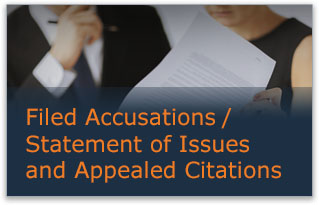 Filed Accusations / Statement of Issues and Appealed Citations